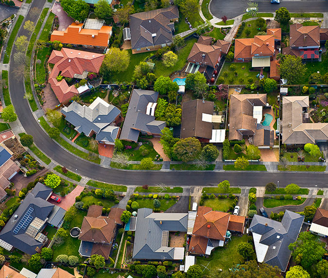 Wohnsiedlung Luftaufnahme Grundstücksverwaltung